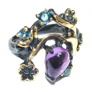 Royal style Natural Amethyst 18K Gold black rhodium over .925 Sterling Silver handcrafted ring size 8