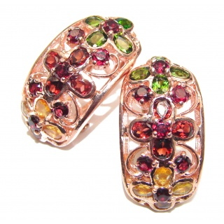 Incredible Authentic Ruby Emerald 14K Gold over .925 Sterling Silver handmade earrings