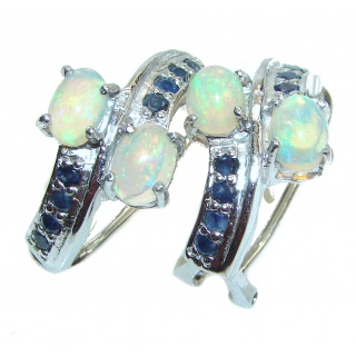 Posh design Authentic Ethiopian Opal Ruby .925 Sterling Silver handmade earrings