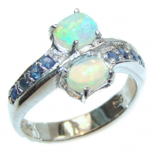 Very unique Design Genuine Ethiopian Opal .925 Sterling Silver handmade Ring size 8 1/4