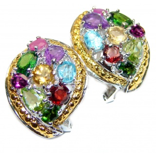 Posh Authentic Multigem 18K Gold over .925 Sterling Silver handmade earrings