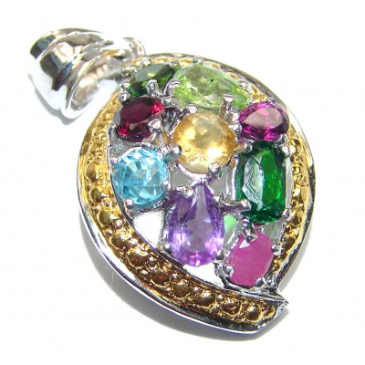 Genuine Multigem 18K Gold over .925 Sterling Silver handcrafted Pendant