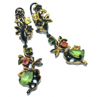 Large Authentic Peridot Gold black rhodium Gold over .925 Sterling Silver handmade earrings