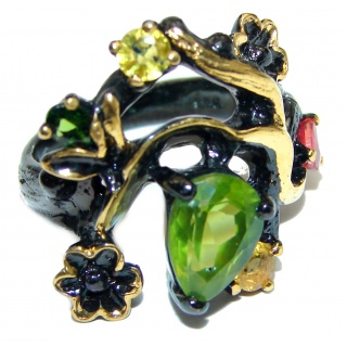 Royal style Natural Peridot 18K Gold black rhodium over .925 Sterling Silver handcrafted ring size 8