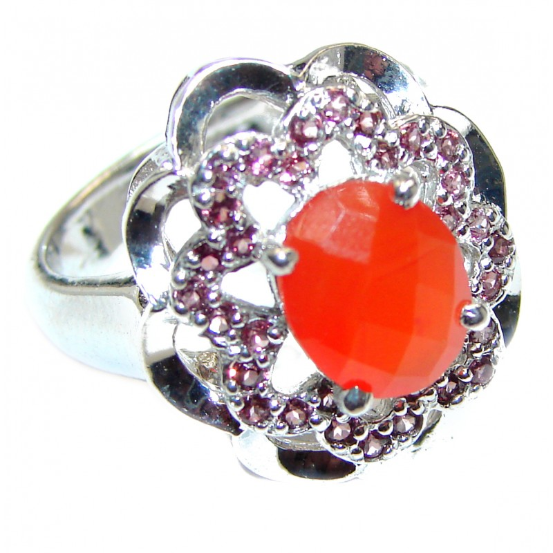 Natural Carnelian Garnet .925 Sterling Silver handcrafted ring size 8 3/4