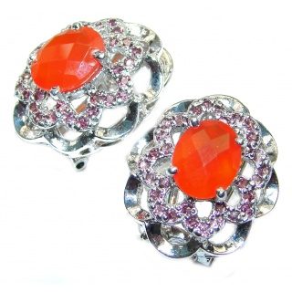 Fancy best quality Carnelian .925 Sterling Silver handcrafted earrings