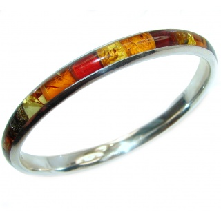 Very unique Natural Mosiac Baltic Amber .925 Sterling Silver handcrafted Bracelet