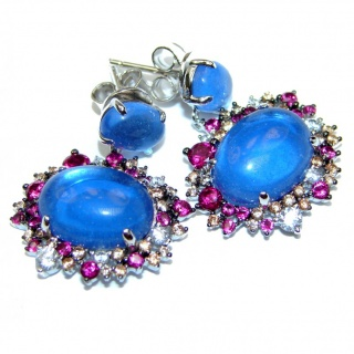 Exclusive genuine London Blue Topaz .925 Sterling Silver handcrafted earrings