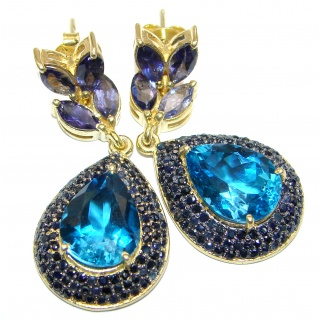 Exclusive genuine London Blue Topaz 18K Gold over .925 Sterling Silver handcrafted LARGE earrings