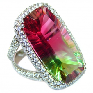 Spectacular Natural Baquette cut Tourmaline .925 Sterling Silver handcrafted ring size 7 1/4