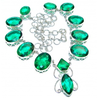 Great Masterpiece genuine Green Quartz .925 Sterling Silver handmade necklace