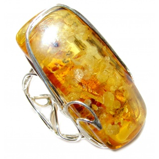 Large Excellent Design Baltic Amber .925 Sterling Silver handcrafted Ring s. 7 adjustable