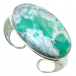 LARGE genuine Variscite highly polished .925 Sterling Silver handcrafted Bracelet / Cuff
