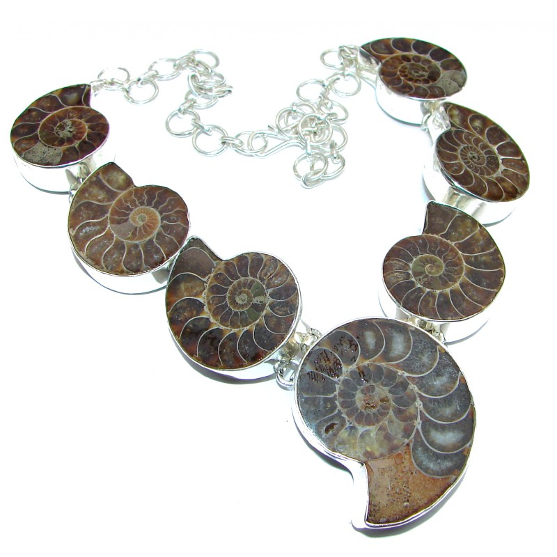 90.5g Aura Of Beauty genuine Ammonite .925 Sterling Silver handcrafted Necklace