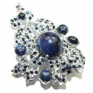 Large Blue Flower genuine Sapphire .925 Sterling Silver handmade Pendant - Brooch