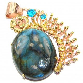 Blue Moon Fire Labradorite 14K Gold over .925 Sterling Silver handcrafted Pendant