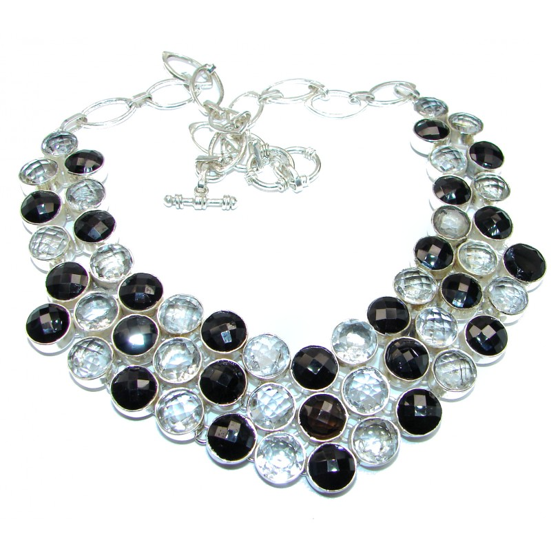 White and Black Onyx and Topaz .925 Sterling Silver handcrafted Large Necklace