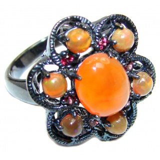 Dazzling natural Mexican Precious Fire Opal black rhodium over .925 Sterling Silver handcrafted ring size 8 1/4