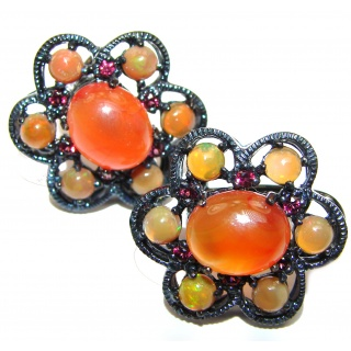 Dazzling natural Mexican Precious Fire Opal black rhodium over .925 handcrafted stud earrings