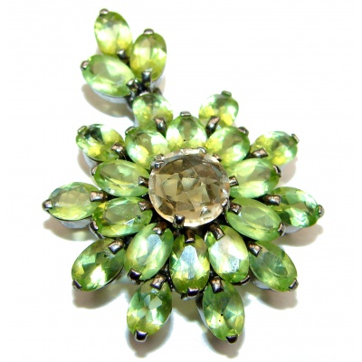 Royal quality genuine Peridot Citrine black rhodium .925 Sterling Silver handcrafted Pendant