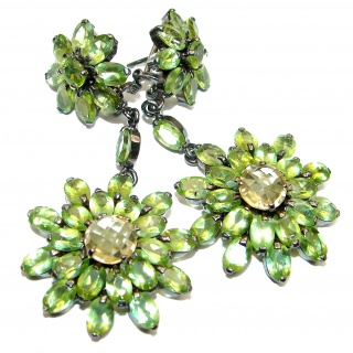 Large Royal Quality Authentic Peridot Citrine .925 Sterling Silver handmade earrings