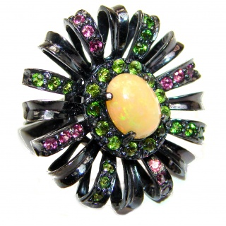 Dazzling natural Mexican Precious Ethiopian Opal black rhodium over .925 Sterling Silver handcrafted ring size 7 1/2