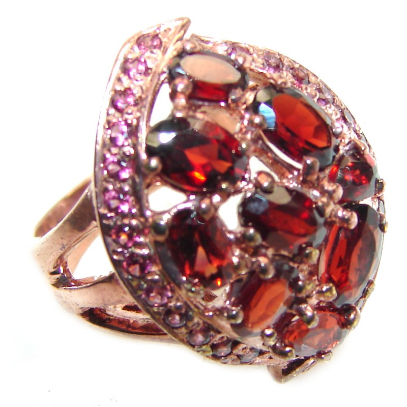 Victorian Style genuine Garnet 18K Gold over .925 Sterling Silver Ring size 8 1/4