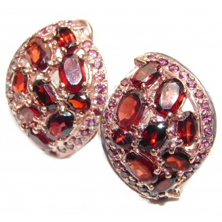 Victorian Design Authentic Garnet 18K Gold over .925 Sterling Silver handmade earrings