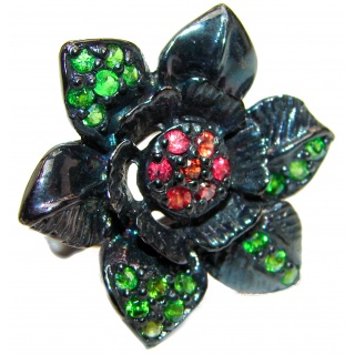 Large Flower Natural Ruby Emerald black rhodium over .925 Sterling Silver handcrafted ring size 9