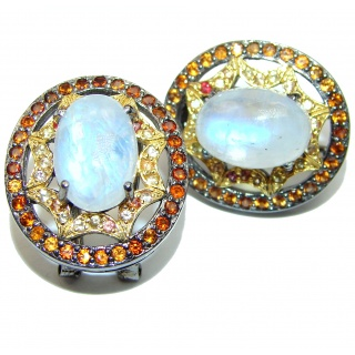 Vintage Beauty Spectacular quality Authentic Moonstone .925 Sterling Silver handmade earrings