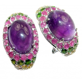 Large Authentic Brazilian Amethyst .925 Sterling Silver handmade earrings