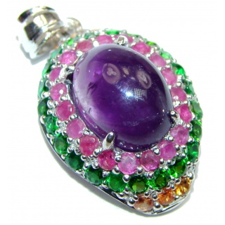 Victorian Style genuine Amethyst .925 Sterling Silver handmade pendant