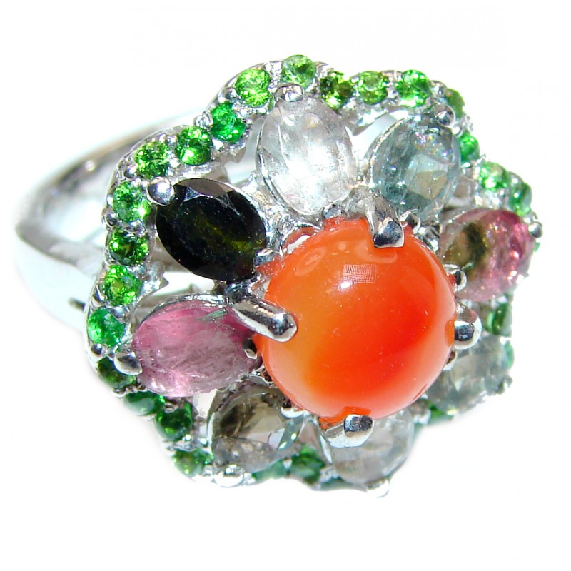 Dazzling natural Mexican Precious Fire Opal 925 Sterling Silver handcrafted ring size 8 1/2