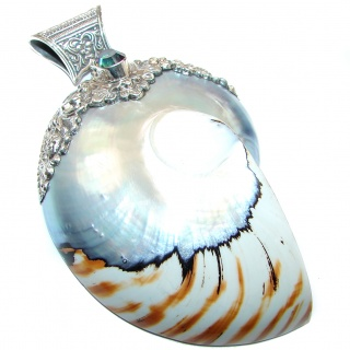Huge 83.6 grams Red Ocean Shell .925 Sterling Silver handmade Pendant