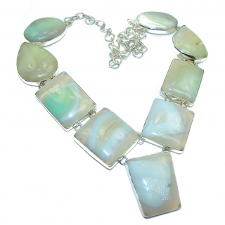 Huge Genuine fresh Mint color Botswana Agate .925 Sterling Silver handmade necklace