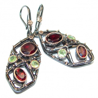 Authentic genuine Garnet Peridot .925 Sterling Silver handmade earrings