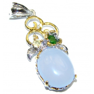 Vintage Design Beauty Chalcedony Agate 18K Gold over .925 Sterling Silver handmade Pendant