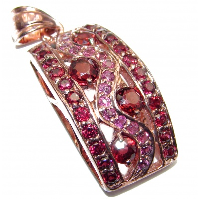 Authentic Watermelon Tourmaline 24K Rose Gold over .925 Sterling Silver Pendant