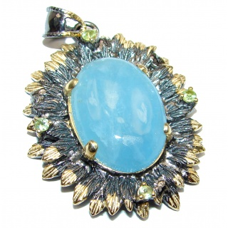 Spectacular Genuine Aquamarine 18K Gold over .925 Sterling Silver handmade Pendant