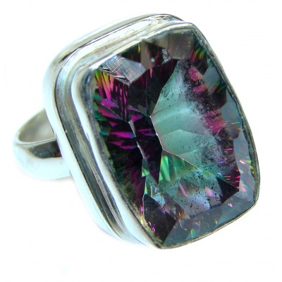 Huge Top Quality Magic Topaz .925 Sterling Silver handcrafted Ring s. 7