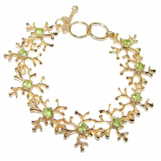 Green Reef genuine Peridot 14K Gold over .925 Sterling Silver handmade Bracelet