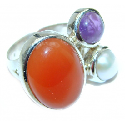Genuine Carnelian .925 Sterling Silver handmade Ring Size 7 adjustable