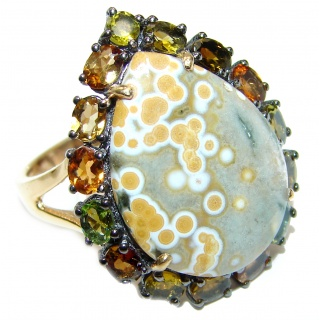 Great Ocean Jasper Tourmaline 14K Gold over .925 Sterling Silver handcrafted Ring s. 8 1/4