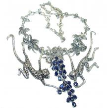 Playing Monkey Sapphire Marcasite .925 Sterling  Silver handcrafted   Necklace