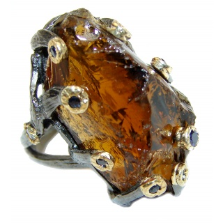 Huge Rough Smoky Topaz Two Tones .925 Sterling Silver handcrafted ring s. 6 1/4