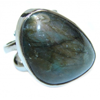Genuine Labradorite .925 Sterling Silver handmade Cocktail Ring s. 7 adjustable