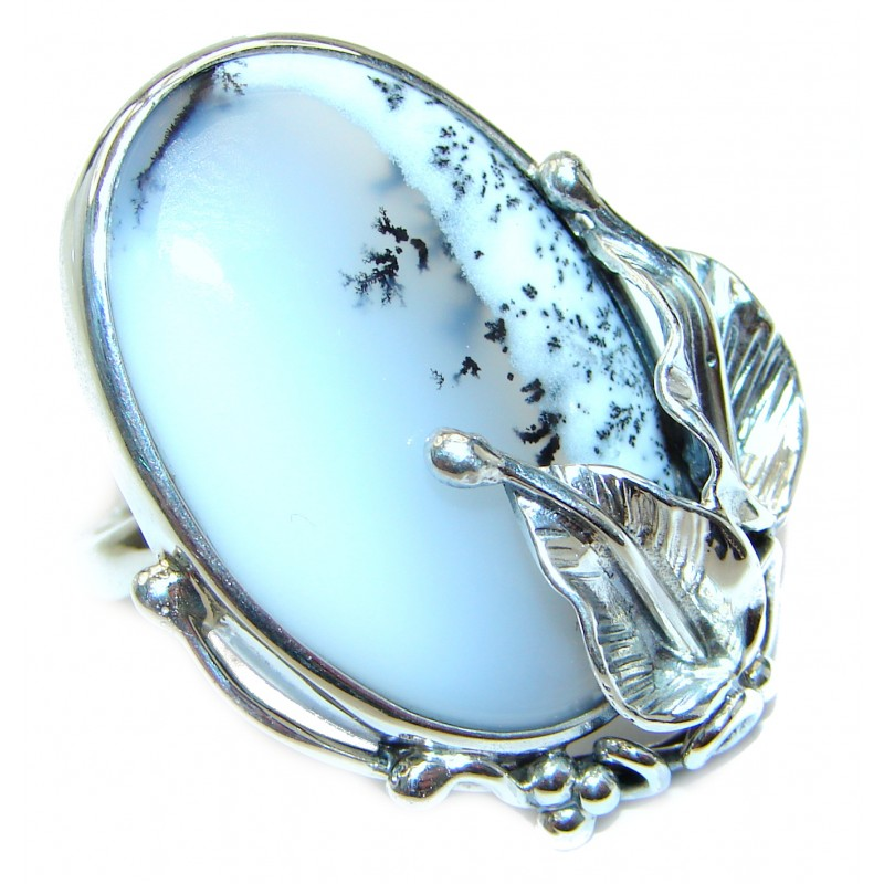 Vintage Beauty Quality Dendritic Agate .925 Sterling Silver hancrafted Ring s. 7 adjustable