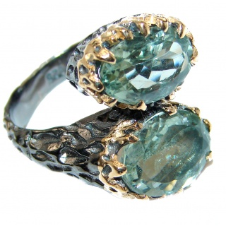 Spectacular Natural Green Amethyst 18K Gold over .925 Sterling Silver handcrafted ring size 8