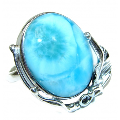 Simple Beauty Natural Larimar .925 Sterling Silver handcrafted Ring s. 8 adjustable