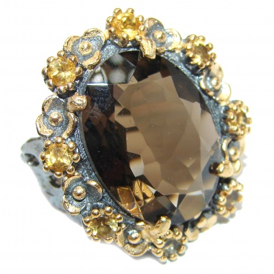 Very Bold Champagne Smoky Topaz 14K Gold over .925 Sterling Silver Ring size 7
